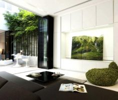 modern living room interior design with natural plant indoor