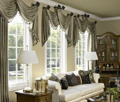 modern livingroom with window treatments for bay windows suit