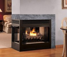modern propane fireplaces with unusual place of wall partition