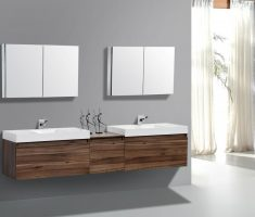 modern wooden vanity mirrors for bathroom hanging on the wall
