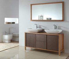 modern wooden vanity mirrors for bathroom with horiziontal big mirror
