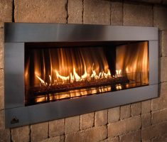 moderng long propane fireplaces with monochromatic scheme