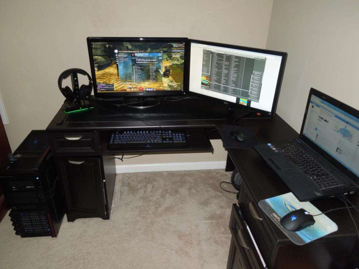 Narrow Gaming Computer Desk Inspirations Design Corner Option
