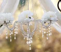 narrow shabby chic chandeliers with flower decor