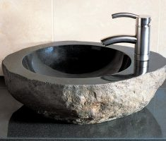 natural vessel sink faucets design with rock material