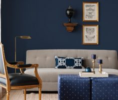 navy blue living room wall decor with blue table