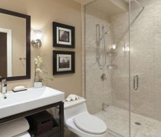 nice bathroom for small space with glass wall and cabinet