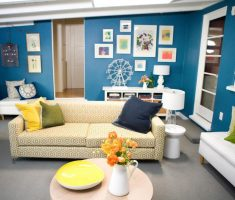 nice blue living room wall decoration