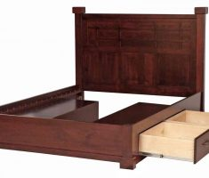 oak wooden bed frames with storage drawer double