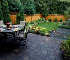 outdoor dining room with small garden and you can add some kitchen garden there