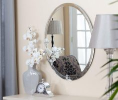 oval bathroom mirrors metal framed
