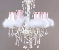 pink with feather crystal shabby chic chandeliers