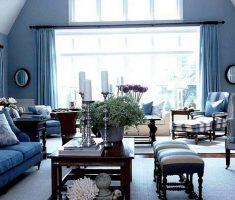 popular blue living room decor for blue sofa with blue curtain and wall