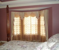 rustic bedroom and window treatments for bay windows suit