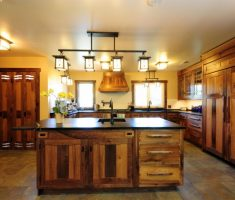 rustic big kitchen with 4 chandelier for kitchen lighting ideas