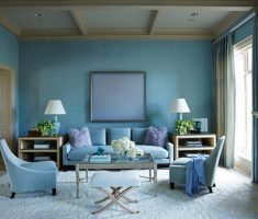 rustic blue living room wall and sofa decor