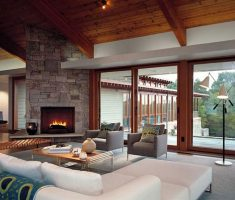 rustic modern interior design with sloop roofing