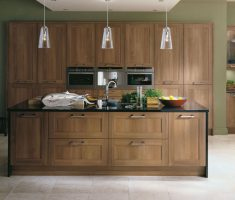 rustic modern kitchen with modern walnut kitchen cabinets and table