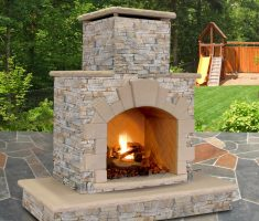 rustic outdoor propane fireplaces woth bricks
