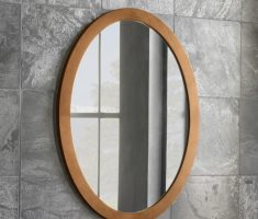 simple oval bathroom mirrors with wooden framed