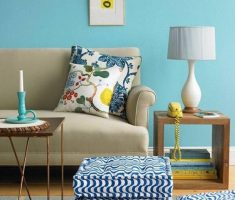 small blue living room wall decor