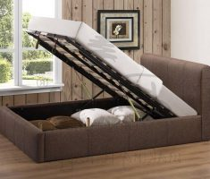 small double bed for small bedroom with fabric storage