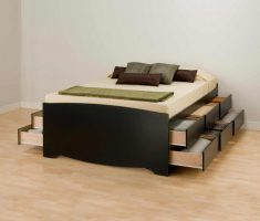 small double bed for small bedroom with multiple drawer storages