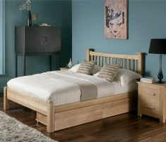 small double bed for small bedroom with storage wooden materials