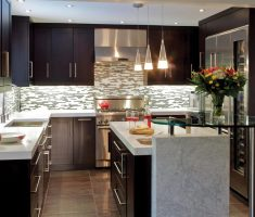 small u shaped kitchen ideas with stylish chandeliers