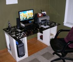 Stylish Gaming Computer Desk Inspirations Design White Black
