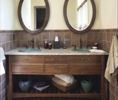thick wooden framed oval bathroom mirrors