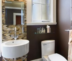trendy bathroom for small space with round sink