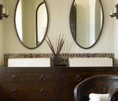 twin minimalist oval bathroom mirrors
