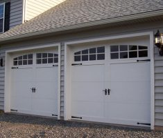twin white lowes garage doors