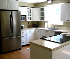 u shaped kitchen with refrigerator for small space