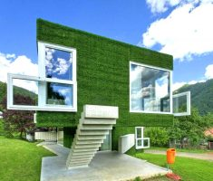 unique greenhouse with green grass wall exterior