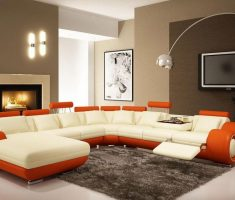 unique sofa set with orange andivory leather accent chairs and sofa for modern living room