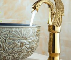 unique swan vessel sink faucets gold design