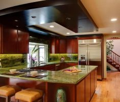 unique u shaped kitchen with green marble ceramic material