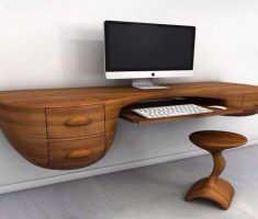 Unique Wooden Hanging Gaming Computer Desk Inspirations Design