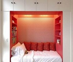 unusual small double bed for small bedroom red and white colours