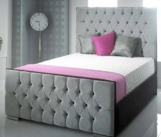 velvet grey small double bed for small bedroom