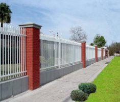 white metal fence design