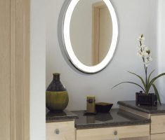 white thick framed oval bathroom mirrors