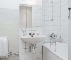 white tiles bathroom for small space wall
