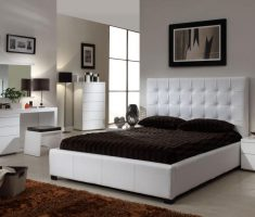 white tufted queen bedroom sets with black mattress for modern master room