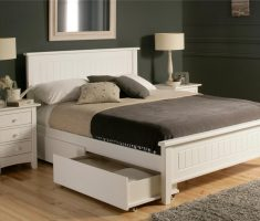 white wooden bed frames with drawers