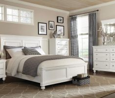 white wooden queen bedroom sets with grey blanket