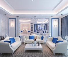 white and blue blue living room decoration
