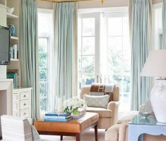 window treatments for bay windows suit with white color and green curtain